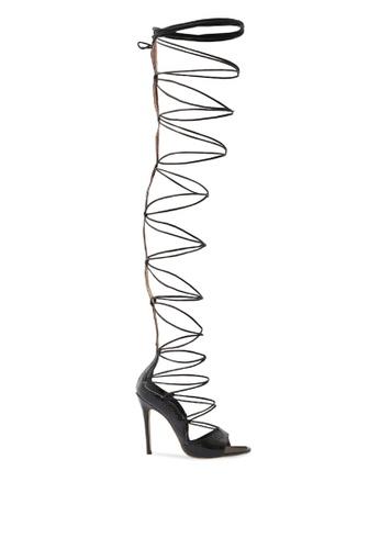 Public Desire black Kiss Lace Up Thigh High Heels 40521SH0CE4148GS_1