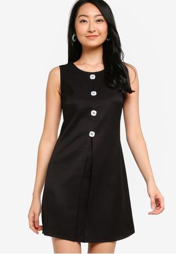 ZALORA BASICS black Mini Dress With Pleat And Buttons 8E0F7AA339B6D5GS_1