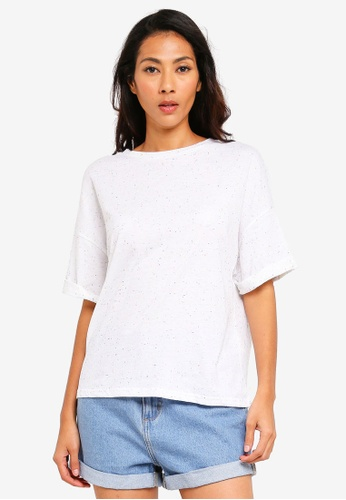 UniqTee white Textured Loose Crop Top 9F1DFAA7D44D08GS_1
