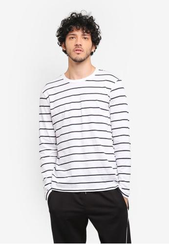 MANGO Man white Striped Cotton T-Shirt MA449AA0T1EJMY_1