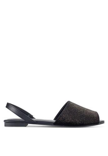 ZALORA black and gold Glitter Slingback Sandals A4DC0SH001142EGS_1