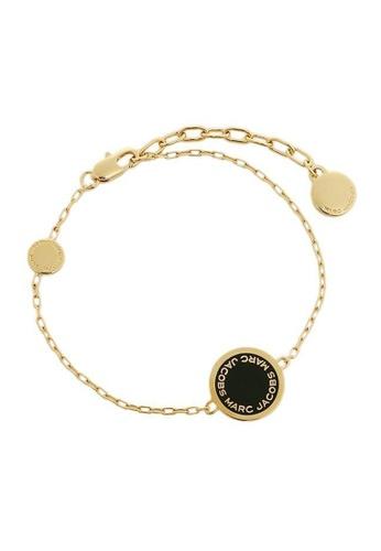 Marc Jacobs black and gold Marc Jacobs Disc Bracelet M0008540 Gold Black C4717ACF584954GS_1