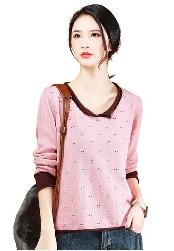 A-IN GIRLS pink Fashion Cutout Colorblock Sweater EEBDAAA765596DGS_1