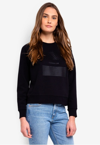 Calvin Klein black Long Sleeve Fa Logo Reglan Po Sweatshirt - Calvin Klein Jeans B821FAA37211FCGS_1