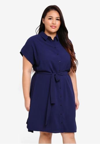 Dorothy Perkins navy Plus Size Navy Shirt Dress F7E42AA5117B13GS_1