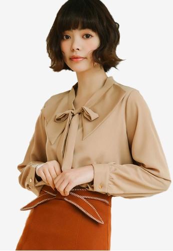 Shopsfashion brown Puritan Collar Blouse 6C60BAA314964AGS_1