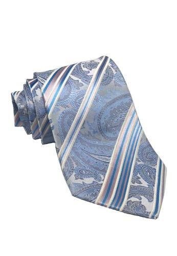 Splice Cufflinks blue Satiny Series Floral and Stripe Design Baby Blue Silk Tie SP744AC99FIESG_1