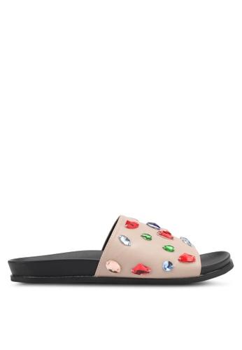 Something Borrowed 米褐色 Embellished Sandals 64201SH718BDB6GS_1