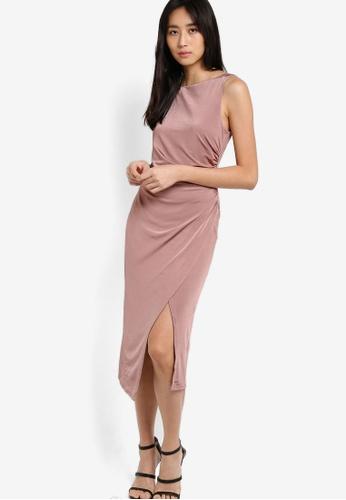 TOPSHOP pink Slinky Drape Midi Dress TO412AA52VKXMY_1