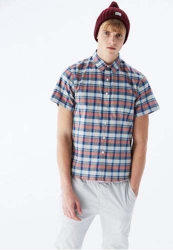 Life8 blue Casual Classic Short-Sleeved Shirts-10001-Blue C37BAAA0E80523GS_1