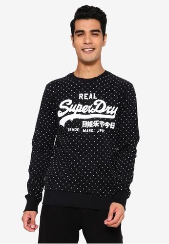 Superdry black Vintage Logo Aop Crew Sweatshirt 899F8AA92870F3GS_1