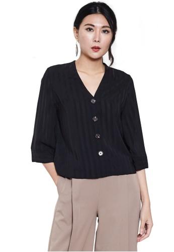 Nichii black Loose Sleeve Button Up Blouse D9B1CAA617CC4EGS_1