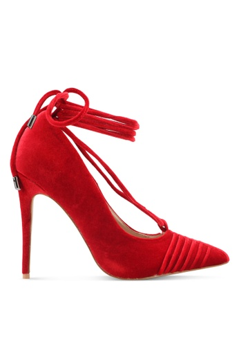 Public Desire red Media Lace Up Ankle Detail Court Shoes PU378SH0SIQ4MY_1