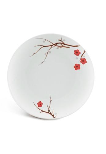 Minh Long I white Pink Ochna: Porcelain Flat Round Plate (26cm) 4A0E9HLED2FC01GS_1