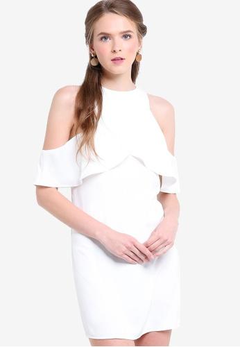 ZALORA white Love Cold Shoulder Ruffle Dress A2C33AA4A07924GS_1