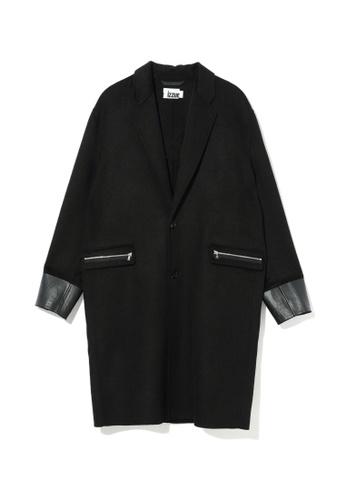 izzue black Contrast cuff coat 22F2BAA7587E83GS_1