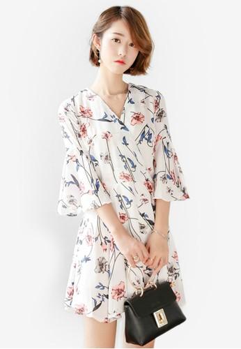 花卉印花V領寬鬆七分袖連身褲, 服飾esprit hong kong 分店, 服飾
