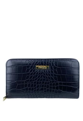 Mel&Co black Faux Leather Croco Zipped Long Wallet 5C3A5AC87C63E8GS_1