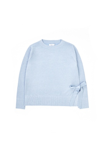 KLAPS blue Round Neck Sweater With Ribbon Embellished 9FF37AA52591CEGS_1