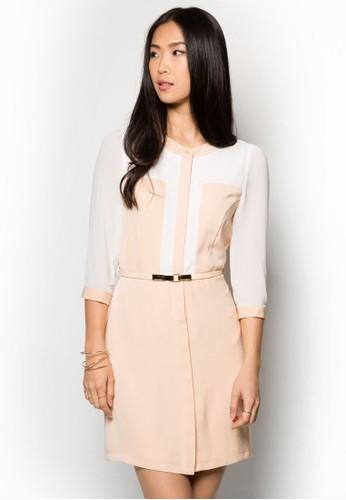 拼色襯衫式zalora 包包 ptt及膝連身裙, 服飾, 洋裝