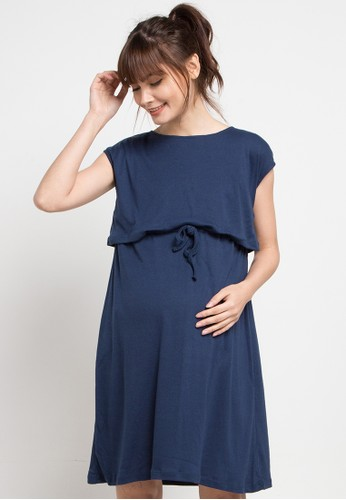La Karina navy Maternity Nursing Casual Dress 9F6ACAA4DADB67GS_1