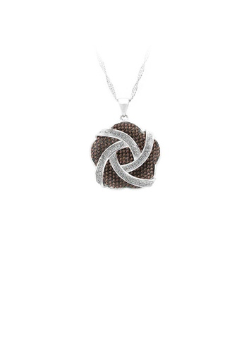 Glamorousky silver 925 Sterling Silver Flower Pendant with White and Brown Cubic Zircon and Necklace 47627AC0BEF8B2GS_1