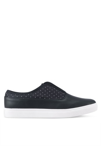 JAXON black Slip On Dotted Mixed Material Sneakers 8168ESHE23F65EGS_1