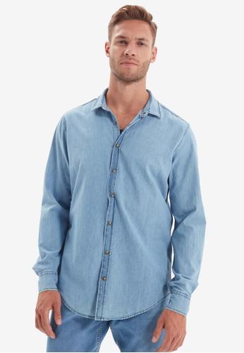 Trendyol blue Slim Fit Basic Denim Shirt 6BCC6AA7572F5DGS_1