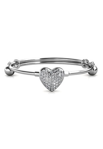 Her Jewellery silver Twinkle Heart Bangle - Made with Premium grade crystals from Austria B0976AC48ABF08GS_1