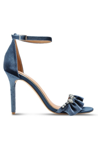 River Island blue and navy Velvet Embellished Barely There Heels RI009SH82HEJMY_1