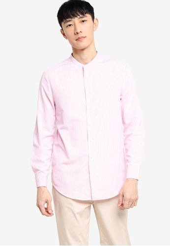 ZALORA BASICS white and pink Slim Fit Stand Collar Stripe Shirt 986C5AA134DD16GS_1