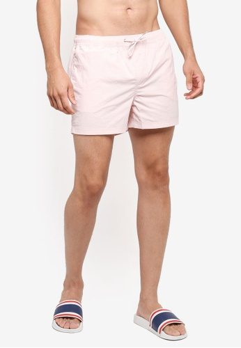 Burton Menswear London pink Powder Pink Regular Pull On Swim Shorts 1CE92US6F09927GS_1