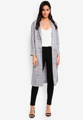 TOPSHOP multi Checked Duster Coat 9F665AAF76D658GS_1