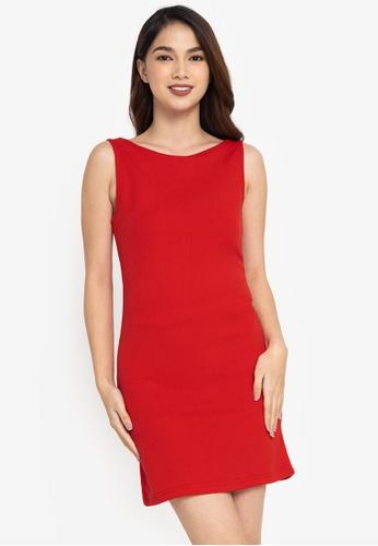 ZALORA BASICS red Knot Back Detail Sleeveless Dress 3FC2EAAE89AF47GS_1