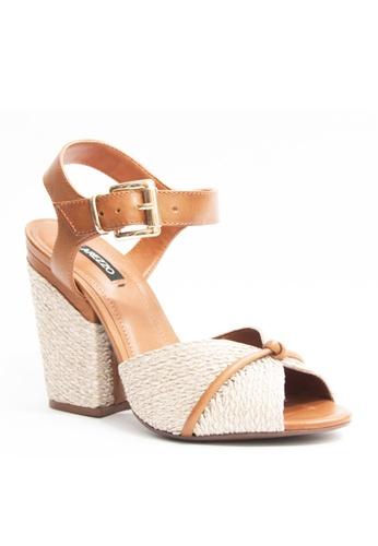 Covet brown Arezzo Arnett Heeled Sandals CO331SH36EMTPH_1