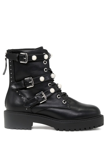 RAG & CO black Black Laceup Strappy Boot with Pearl Studs  RCSH1718 C6A23SHB8F4F40GS_1