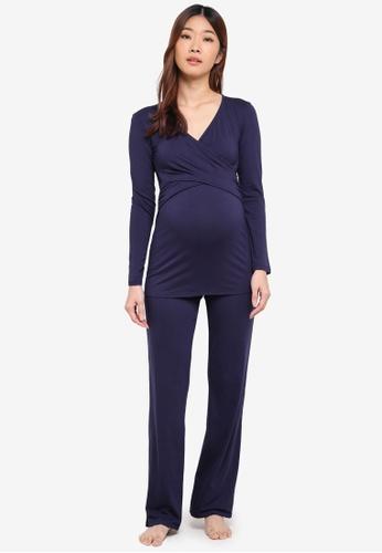 Envie De Fraise navy Maternity Flore Long Sleeve Pajamas 2B9F9AAA67FFADGS_1