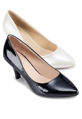 二入組Charlzalora開箱otte 經典仿皮高跟鞋, 女鞋, 厚底高跟鞋