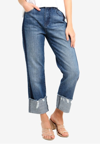 OVS blue Slim Fit Worn Effect Jeans With Side Bands 78B4AAA1609DD4GS_1