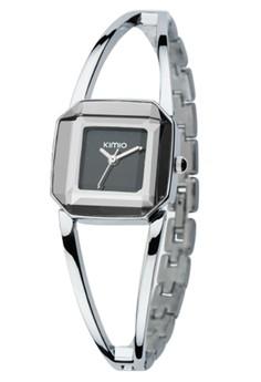 KIMIO Women's Black Dial Silver Stainless Strap Watch K463