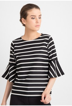 harga duapola Stripped Wedges Bell Blouse Zalora.co.id