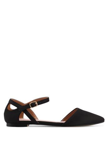 Velvet black Ankle Strap Flats 706A7SH02D9D3EGS_1