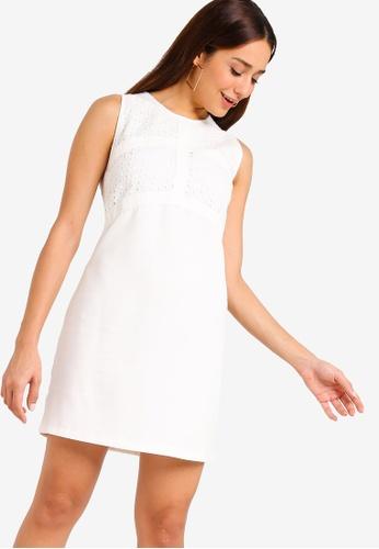 ZALORA white Panel Shift Dress 3AE37AAD7B645FGS_1