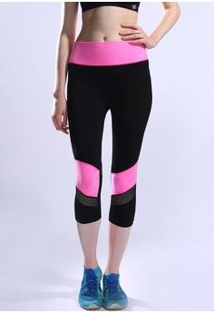 fa7dfa4f00 YSoCool black and pink Mesh Quick-Drying Sport Pants Yoga Capri Legging  56F27AA785D78AGS_1