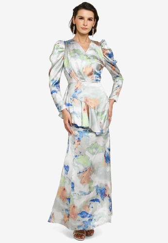 Zalia 灰色 and 綠色 Asymmetrical Flounce Puff Sleeve Dress ADAFAAAEB4942EGS_1