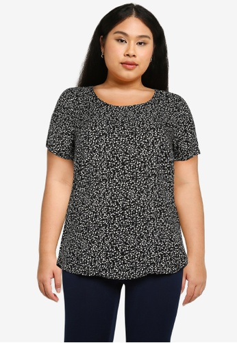 Only CARMAKOMA black Plus Size Lolli Short Sleeves Blouse 733E2AACD46745GS_1