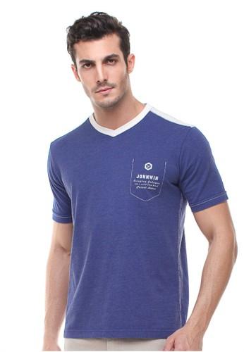 Johnwin blue Johnwin - Slim Fit - Kaos Casual Active - Vneck - Biru 44671AAB119466GS_1
