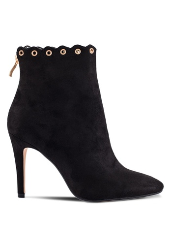 ZALORA black Suede Booties with Eyelet Details F92D0SHA1B7C70GS_1