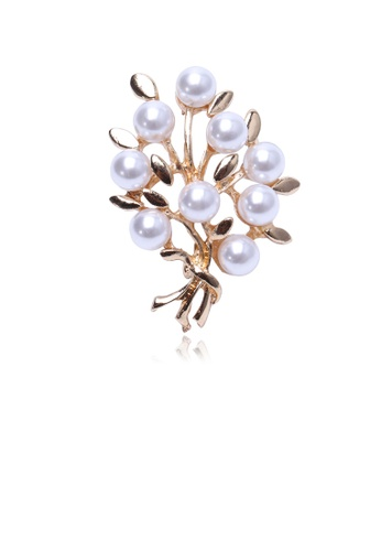 Glamorousky silver Fashion and Elegant Plated Gold Tree Of Life Imitation Pearl Brooch 6AC6CAC12B9592GS_1