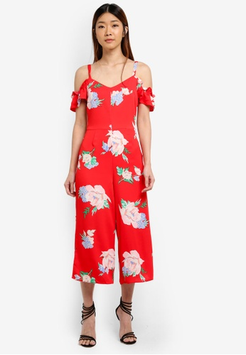 Miss Selfridge red CNY Floral Print Cold Shoulder Jumpsuit 3DE88AAD3772B4GS_1